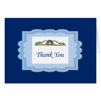Angel Thank You Card With Light Blue Border Note Card