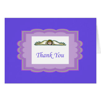 Angel Thank You Card With Purple Border Note Card