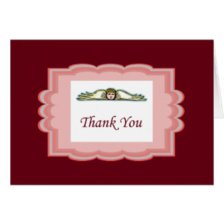 Angel Thank You Card With Red Border Note Card