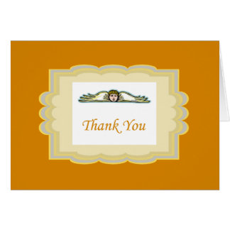 Angel Thank You Card With Yellow Border Note Card
