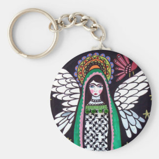 Angel Virgin of Guadalupe Art by Heather Galler Basic Round Button Key Ring