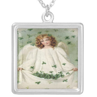 Angel W/Clover Sterling Silver Necklace