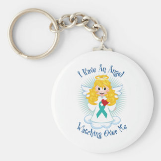 Angel Watching Over Me Teal Ribbon Key Ring