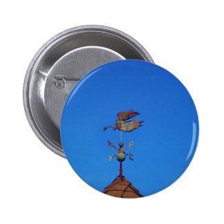 Angel Weather Vane Bright Blue Sky Pinback Button