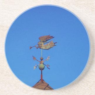 Angel Weather Vane Bright Blue Sky Beverage Coasters