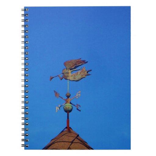 Angel Weather Vane Bright Blue Sky Spiral Note Book
