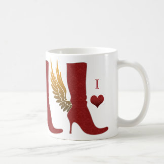 Angel Wing Boot Coffee Mug Red Gold