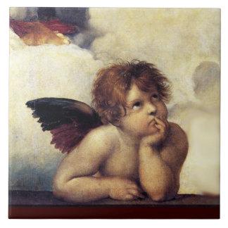ANGEL / Winged Cherub Large Square Tile