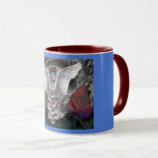 Angel wings and flower in a deep forest mug