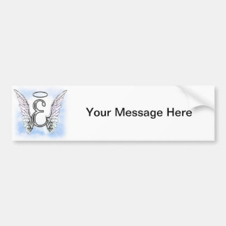Angel Wings and Halo Monogram Letter E Bumper Stickers
