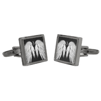 ANGEL WINGS Gray Touched Feathers Custom Monogram Gunmetal Finish Cuff Links