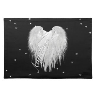 ANGEL WINGS Heart Starry Night Black Placemat