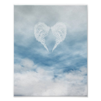 Angel Wings in Cloudy Blue Sky Poster