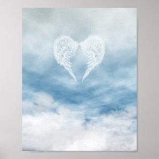 Angel Wings in Cloudy Blue Sky Poster