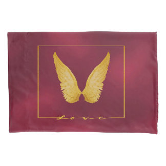 Angel wings in faux gold chic burgundy background pillowcase