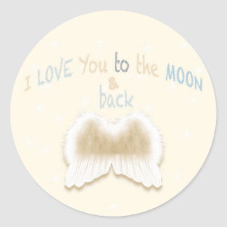 Angel Wings Round Sticker, Glossy Classic Round Sticker