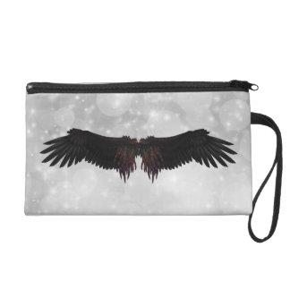 Angel Wings Satin Clutch Bag Wristlet