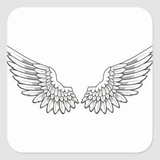angel wings square sticker