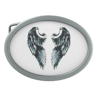 Angel Wings white and black over a white backing . Oval Belt Buckles