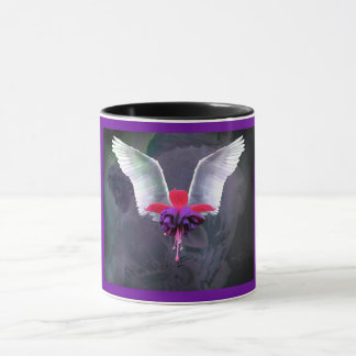 Angel wings with Fuchsia flower, angel background Mug