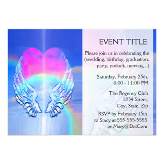 Angel Wings Wrapped Around a Heart Invite
