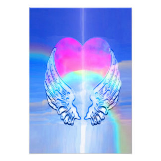 Angel Wings Wrapped Around a Heart Personalized Invitation