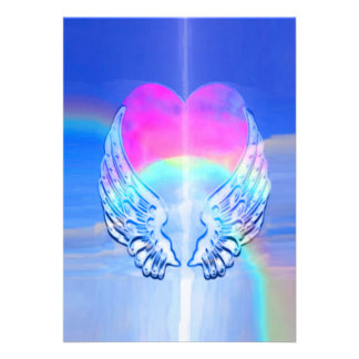 Angel Wings Wrapped Around a Heart Personalized Announcements