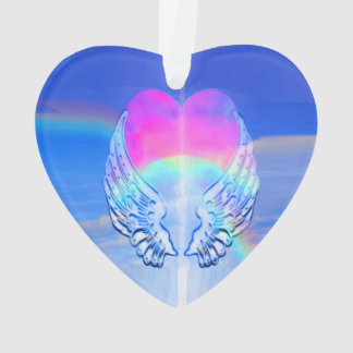 Angel Wings Wrapped Around a Heart Ornament