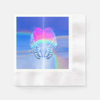 Angel Wings Wrapped Around a Heart Paper Napkin