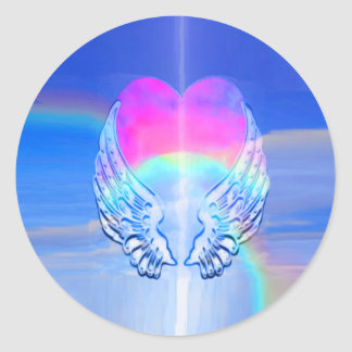Angel Wings Wrapped Around a Heart Round Sticker
