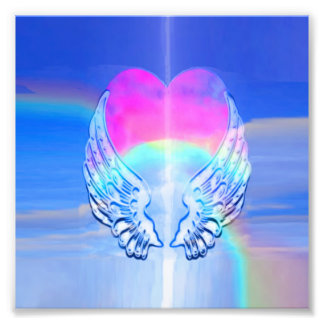 Angel Wings Wrapped Around a Rainbow Heart Photograph