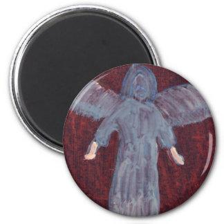 Angel with big feet 6 cm round magnet
