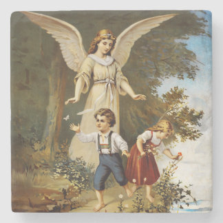 Angel with Children on a Cliff Stone Coaster