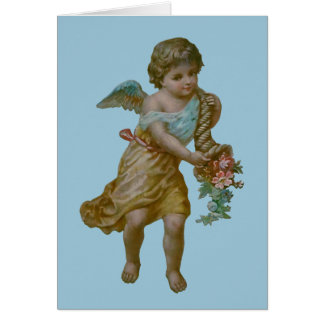 Angel with Cornucopia Greeting Card (Blue)
