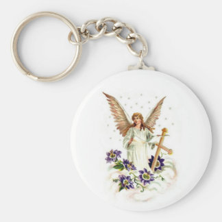 Angel With Cross And Clematis Flowers Basic Round Button Key Ring