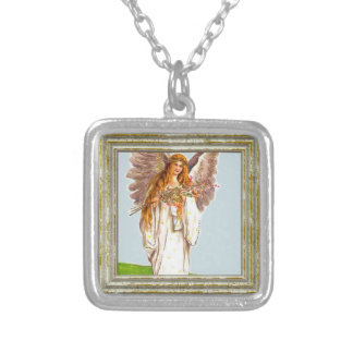 Angel With Flowers Silver Plated Necklace