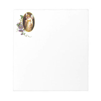 Angel With Harp And Clematis Flowers Notepad