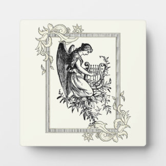 Angel With Harp And Flora Plaque