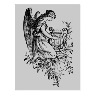 Angel With Harp And Flora Postcard