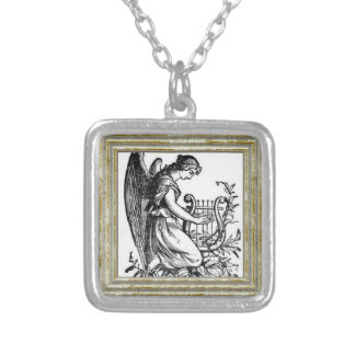 Angel With Harp And Flora Silver Plated Necklace