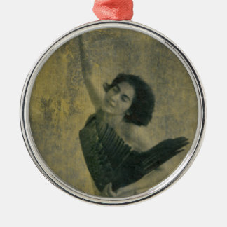 Angel with Harp Metal Ornament