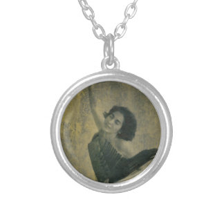 Angel with Harp Silver Plated Necklace