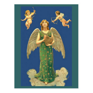 Angel With Heart And Cupid Postcard