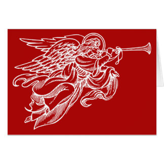 Angel with horn Christmas card on red