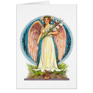 Angel With Lilly Flowers Card