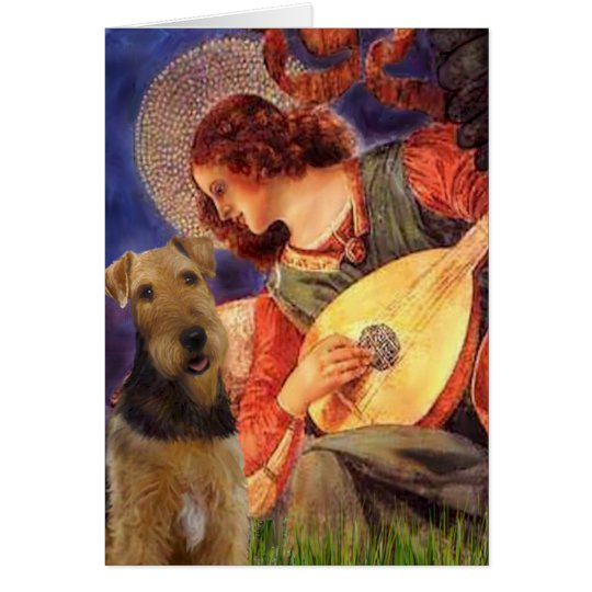 Angel With Mandolin - Airedale Terrier Card