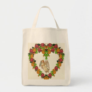 Angel With Palm Leaf And Roses Heart Grocery Tote Bag