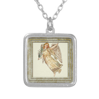 Angel With Palm Leaf Silver Plated Necklace