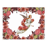 Angel With Pink Ribbon And Roses Post Cards