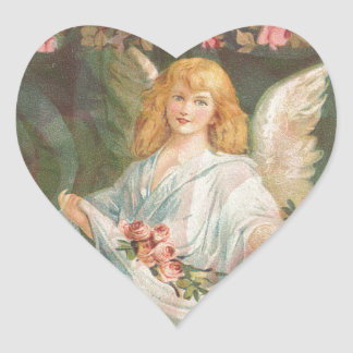 Angel with Roses Heart Sticker